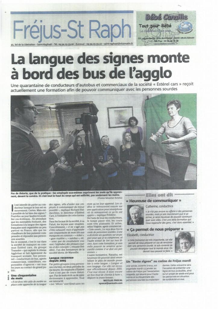 Page du Journal Fréjus St Raphael (janvier 2014) ayant pour titre La langue des signes monte à bord des bus de l'agglo